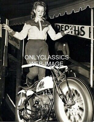 1949 Woman Stunt Rider Indian Motorcycle Wall Of Death Photo Daredevil Thrill