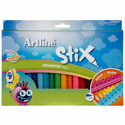 Artline Stix Drawing Pen 20pk Pens/Markers Draw/Build/Play Kids/Children/Teens