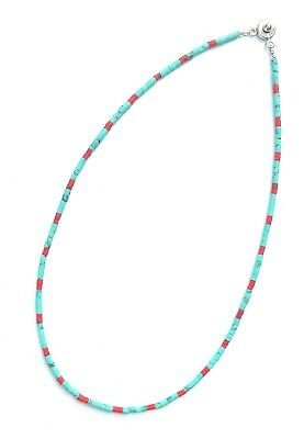 """Afghan Turquoise & Coral Tiny Seed Beads Necklace Handmade 16"""" Ethnic Gemstone"""