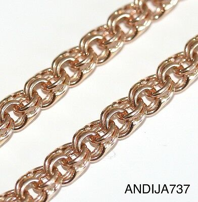 """SOLID 585 14K RUSSIAN ROSE RED GOLD ORTHODOX CHAIN. BISMARK. 55cm, 21.6"""", 13.5g"""