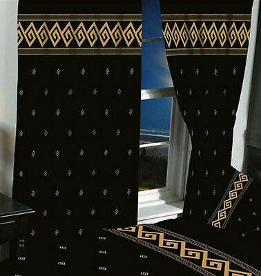 "66"" x 72"" ATHENS GREEK KEY READY MADE PENCIL PLEAT CURTAINS BLACK METALLIC GOLD"