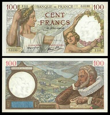 France 100 Francs SULLY 21.12.1939 P 94 aUNC