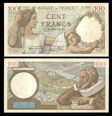France 100 Francs SULLY 21.9.1939 P 94 UNC