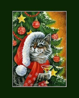 Christmas Cat ACEO Print Greetings From Tabby by Irina Garmashova
