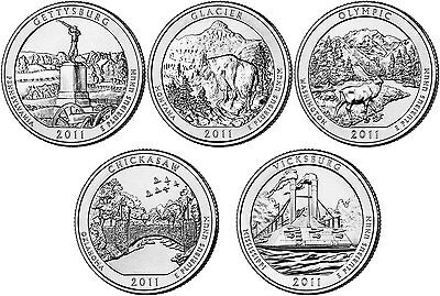2011 P and D BU National Park Quarter 10 Coin Set