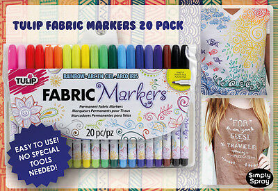 NEW Fine Tip Pen Permanent Fabric Markers:Tulip 20 Colour Pack-Shirts/Bags/Craft