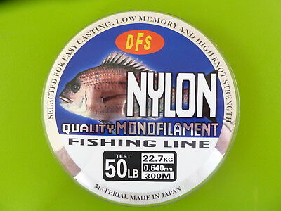 50lb 300m spool RED Colour DFS QUALITY Monofilament Mono Nylon Fishing Line