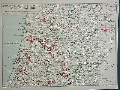 1918 Ww1 Map Egyptian Expeditionary Force Advance Samaria To Galilee 22 Sept