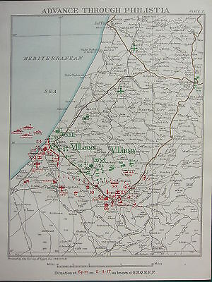 1918 WW1 MAP EGYPTIAN EXPEDITIONARY FORCE ADVANCE THROUGH PHILISTIA 2nd NOV 1917