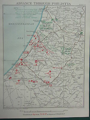 1918 Ww1 Map Egyptian Expeditionary Force Advance Through Philistia Nov 11 1917