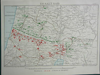 1918 Ww1 Map Egyptian Expeditionary Force Es Salt Raid 29 April Jaffa Jerusalem