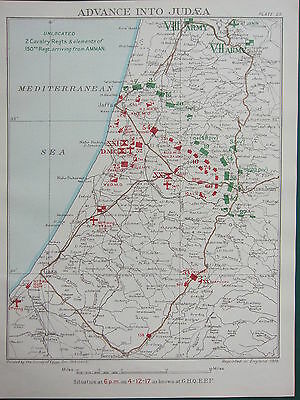 1918 WW1 MAP EGYPTIAN EXPEDITIONARY FORCE ~ ADVANCE INTO JUDEA DEC 4th 6pm GAZA
