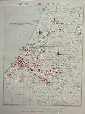 1918 Ww1 Map Egyptian Expeditionary Force ~ Advance Through Philistia Nov 8 1917