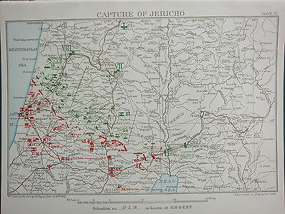 1918 WW1 MAP EGYPTIAN EXPEDITIONARY FORCE ~ CAPTURE OF JERICHO 21st FEB JAFFA