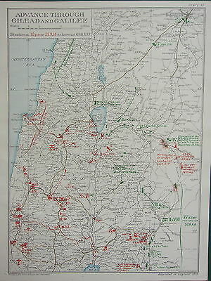 1919 Ww1 Map Egyptian Expeditionary Force Advance Gilead & Galilee 25 Sept 1918
