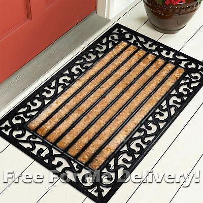 COIR RUBBER BACKED OUTDOOR DOOR MAT SCROLL RIBBED 60x90cm **FREE DELIVERY**