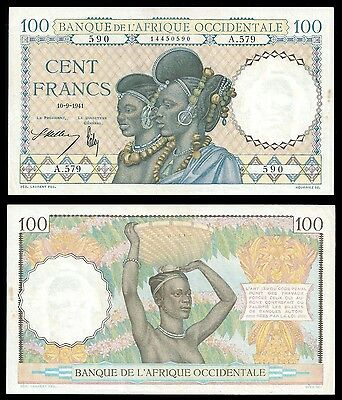French West Africa 100 Francs 10.9.1941 P 23 XF