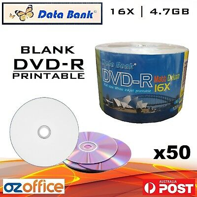 BRAND NEW 50 x Data Bank DVD-R 16x Inkjet Printable Blank DVD R Blank DVD Discs