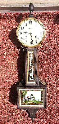 Antique Mahogany Waterbury Willard No. 5, 8 Day Time + Strike Banjo Clock, C1910