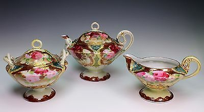Hand Painted Unmarked Nippon Red Pink Roses Tea Pot Creamer Sugar Bowl Cup