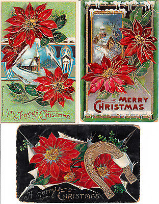 Lot of 3 Vintage Christmas PC All Gelatin With Poinsettias