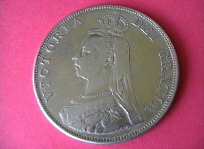 Double Florin 1889 Queen Victoria Jubilee Head 22.6g of Sterling Silver .925 EF.