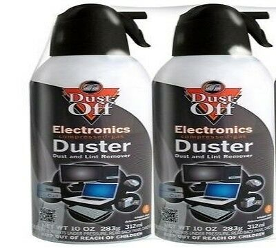2 PK Compressed Air Computer TV Gas Cans Duster 10 oz Dust Off Laptop Keyboard