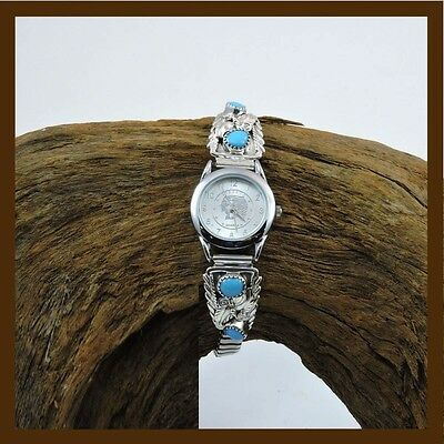 wonderful ladies watch filigree feather with turquoise stone,925 sterling silver