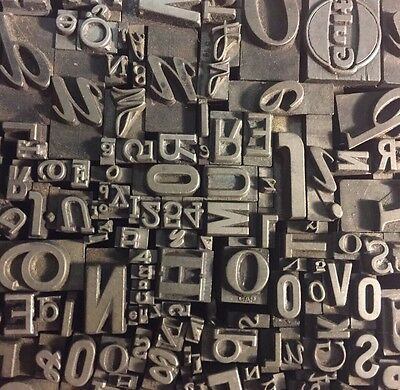 Lot of 250 Vintage Letterpress Lead Letters Numbers Type Blocks