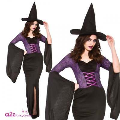 0fbfe6eeb2e Sexy Alluring Witch Adult Ladies Gothic Sorceress Halloween Fancy Dress  Costume