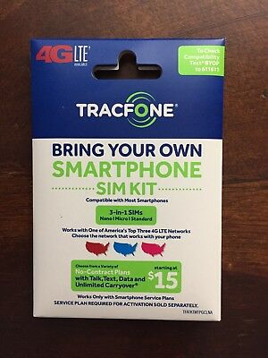 1 - Tracfone 4G Lte Sim Card / All 3 Sizes In 1 = T-Mobile Wireless Network