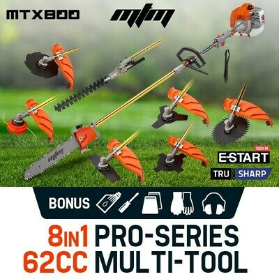 MTM 62cc Pole Chainsaw Brush Cutter Whipper Snipper Hedge Trimmer Multi Tool Saw