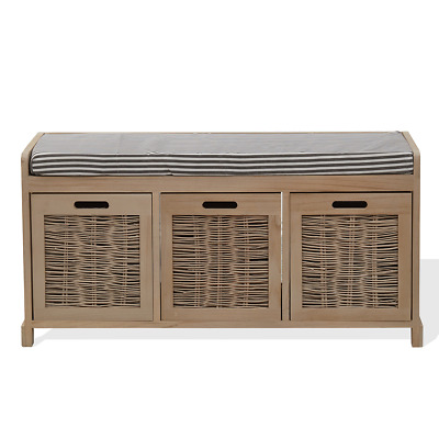 Mobili Rebecca Bench Seat Cabinet Storage 3 Drawer Beige Wood Retro Hall Kitchen
