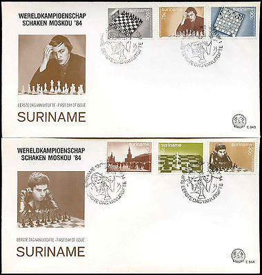 Suriname 1984 World Chess Championships FDC First Day Cover Set #C30266