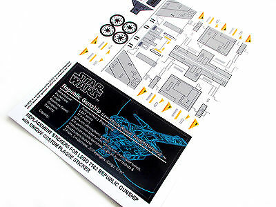 STAR WARS 'DIE CUT' REPLACEMENT STICKERS for Lego 7163 REPUBLIC GUNSHIP +++