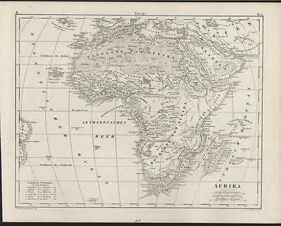 Africa w/ Mountains of Moon c. 1850 Heck antique detailed engraved map
