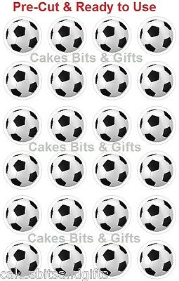 24 x SOCCER BALL Edible Wafer Cupcake Cake Toppers, PRE-CUT Ready to Use SPORT