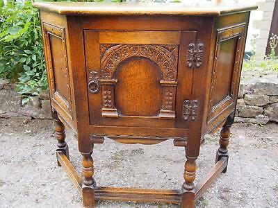 A Lovely Vintage Old Charm Carved Canted/Credence Cupboard on Raised Supports