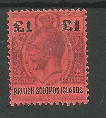 BRITISH SOLOMON ISLANDS SG38 THE 1914 GV £1 PURPLE&BLACK /red FINE MINT C.£250