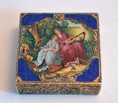 Vintage 1920s Silver and Enamel Powder and Lipstick Compact