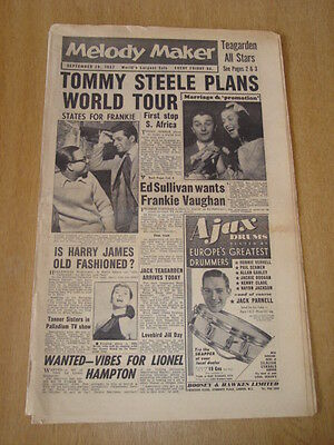 MELODY MAKER 1957 September 14 Tommy Steele Jimmy Rushing Jazz Big Band  Swing - $26.95 | PicClick