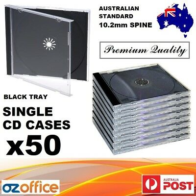 50 x Single Jewel CD Case Black Tray Single CD Cases CD Covers Standard Size