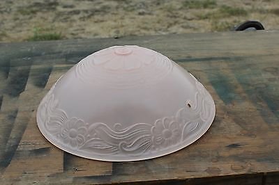 Antique Frosted Floral Pink Glass Ceiling Light Fixture Shade 3 Chain
