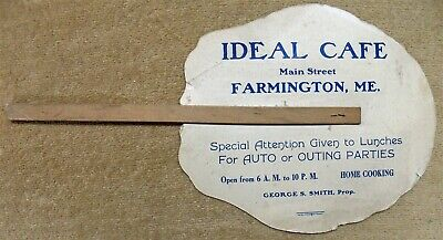 Farmington Maine ME Antique Advertising Fan- Ideal Cafe Main Street/George Smith