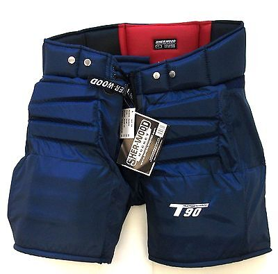Sherwood T90 ice hockey goalie pants senior size small navy blue new goal Sr S