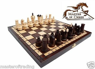 "SUPERB ""ROYAL MAXI"" MATT FINISH WOODEN CHESS SET 31 x 31cm! HAND CRAFTED PIECES"