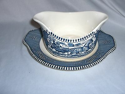 Vintage Currier & Ives Gravy Boat Under Plate Royal China