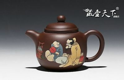 Artistic Pure Manual Yixing Zisha Painting Boiled Tea Teapot Top Grade X