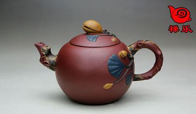 Colle Ctible Authentic Chinese Yixing Zisha Handmade Pistachio Teapot