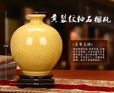 Beautiful Archaize Chinese Porcelain Yellow Guanware Crack Glaze Vase